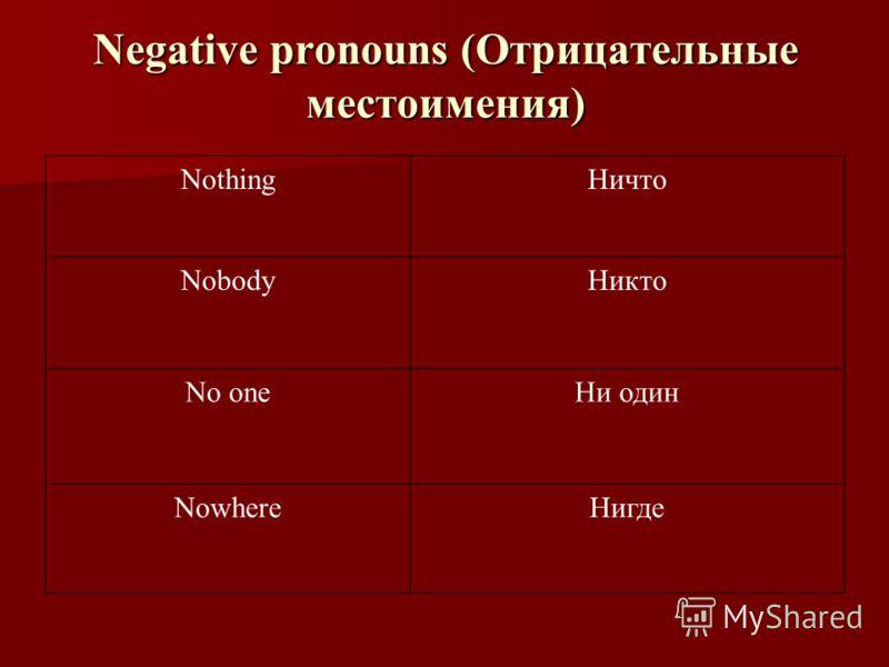 Negative pronouns (Отрицательные местоимения) NothingНичто NobodyНикто No oneНи один NowhereНигде