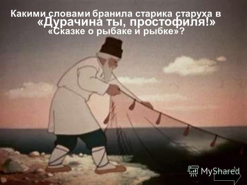 Какими словами бранила старика старуха в «Сказке о рыбаке и рыбке»? «Дурачина ты, простофиля!»