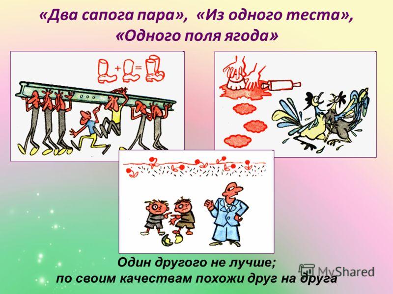«Два сапога пара», «Из одного теста», « Одного поля ягода » Один другого не лучше; по своим качествам похожи друг на друга