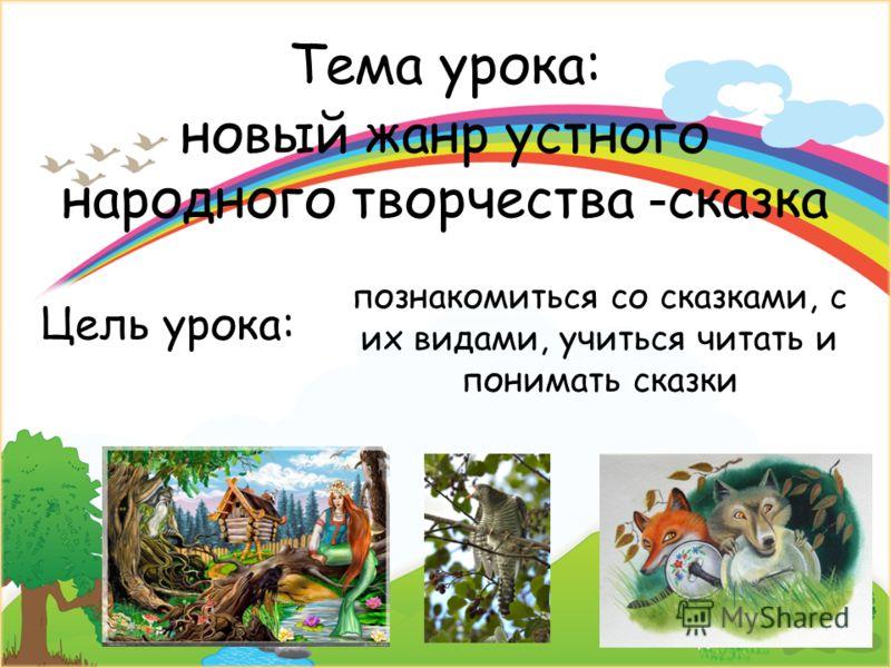 Тема урока: познакомиться со сказками, с их видами, учиться читать и понимать сказки новый жанр устного народного творчества - сказка Цель урока: