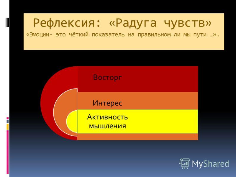 Рефлексия: «Радуга чувств» «Эмоции- это чёткий показатель на правильном ли мы пути …». Восторг Интерес Активность мышления