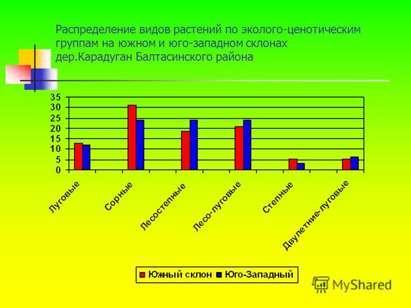 Распределение видов растений по эколого-ценотическим группам на южном и юго-западном склонах дер.Карадуган Балтасинского района