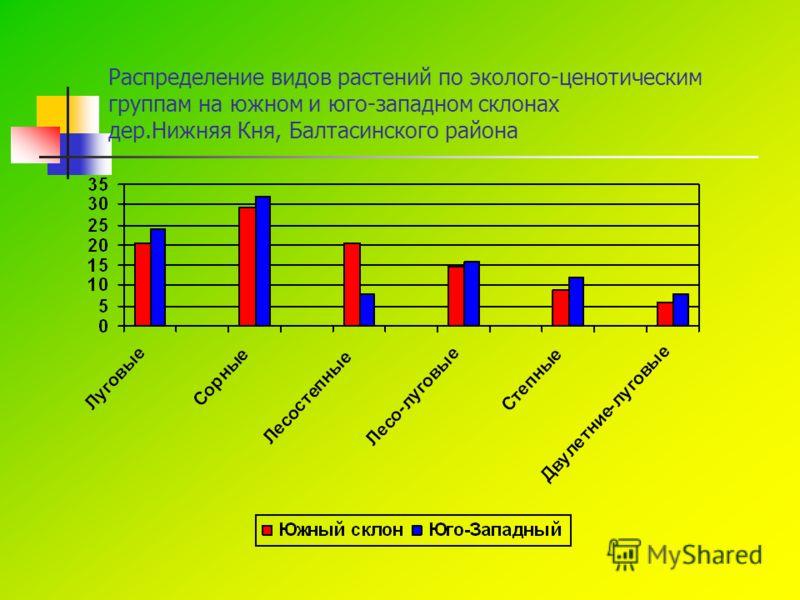 Распределение видов растений по эколого-ценотическим группам на южном и юго-западном склонах дер.Нижняя Кня, Балтасинского района