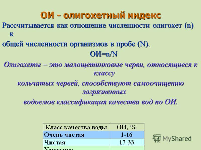 ОИ - олигохетный индекс Рассчитывается как отношение численности олигохет (n) к общей численности организмов в пробе (N). ОИ=n/N ОИ=n/N Олигохеты – это малощетинковые черви, относящиеся к классу кольчатых червей, способствуют самоочищению загрязненны