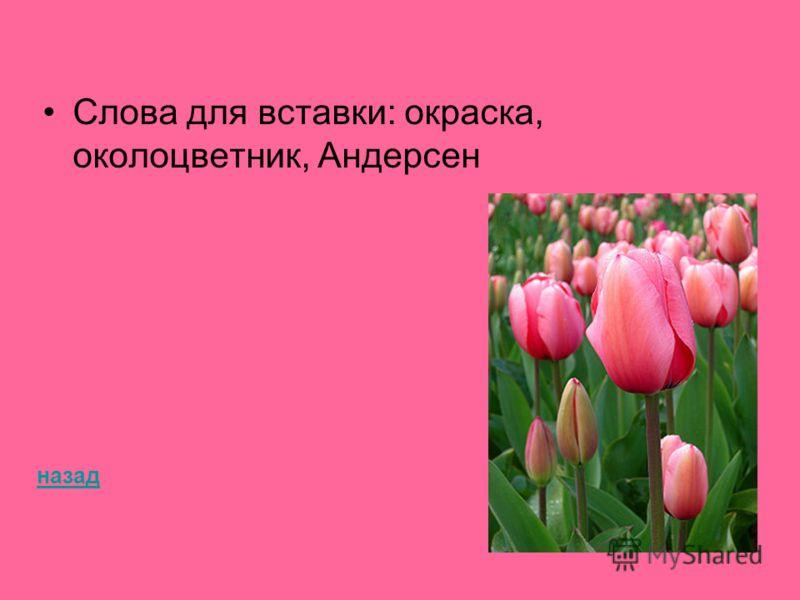 Слова для вставки: окраска, околоцветник, Андерсен назад