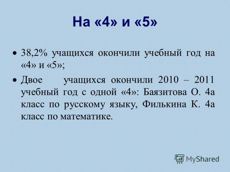 На «4» и «5» 38,2% учащихся окончили учебный год на «4» и «5»; Двое учащихся окончили 2010 – 2011 учебный год с одной «4»: Баязитова О. 4а класс по русскому языку, Филькина К. 4а класс по математике.