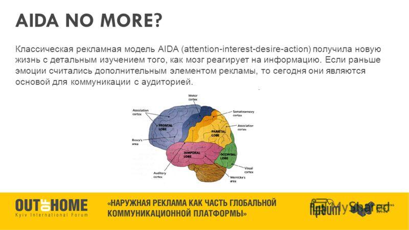 AIDA NO MORE? Классическая рекламная модель AIDA (attention-interest-desire-action) получила новую жизнь c детальным изучением того, как мозг реагирует на информацию. Если раньше эмоции считались дополнительным элементом рекламы, то сегодня они являю