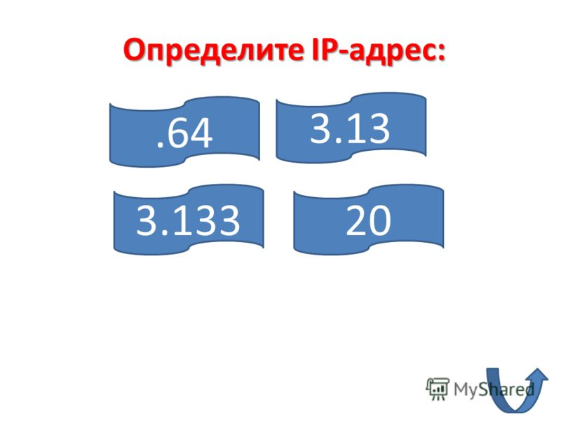 .64 3.13320 3.13 Определите IP-адрес: