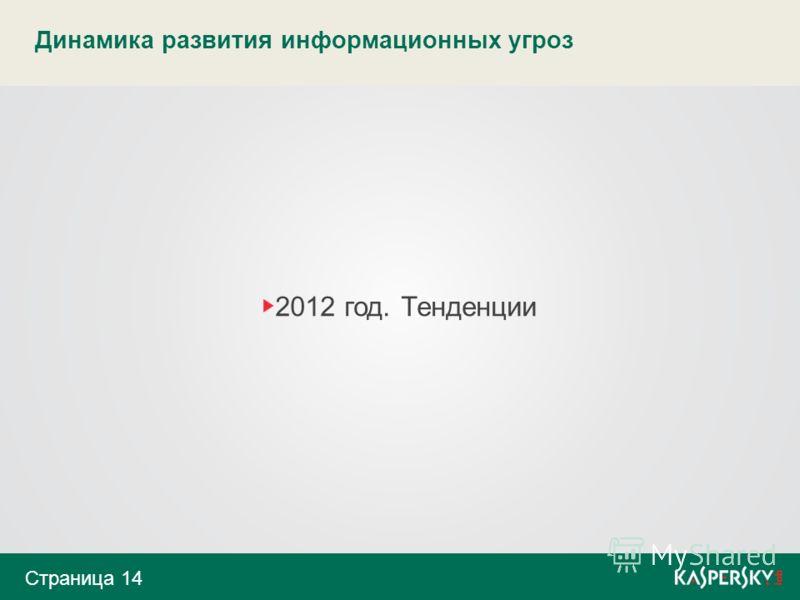 Динамика развития информационных угроз 2012 год. Тенденции Страница 14
