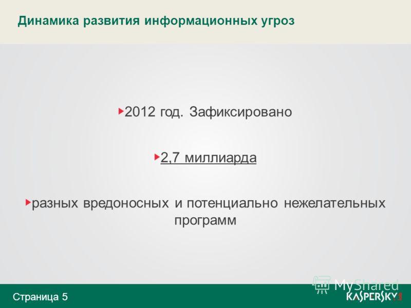 Динамика развития информационных угроз 2012 год. Зафиксировано 2,7 миллиарда разных вредоносных и потенциально нежелательных программ Страница 5