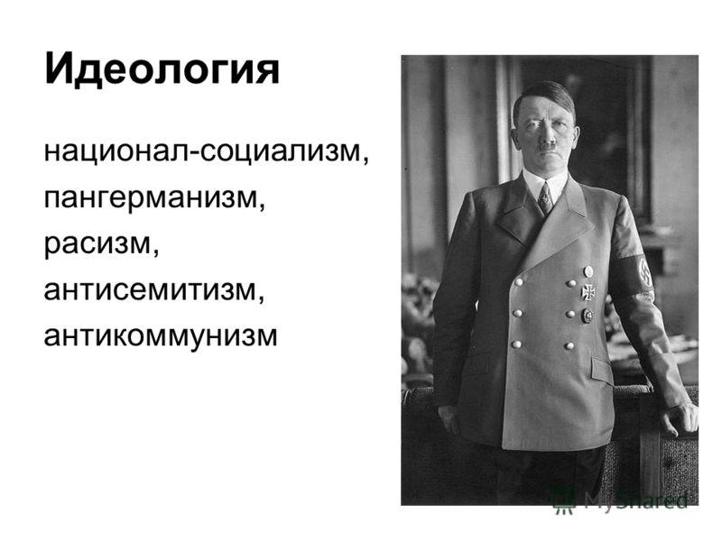 Идеология национал-социализм, пангерманизм, расизм, антисемитизм, антикоммунизм