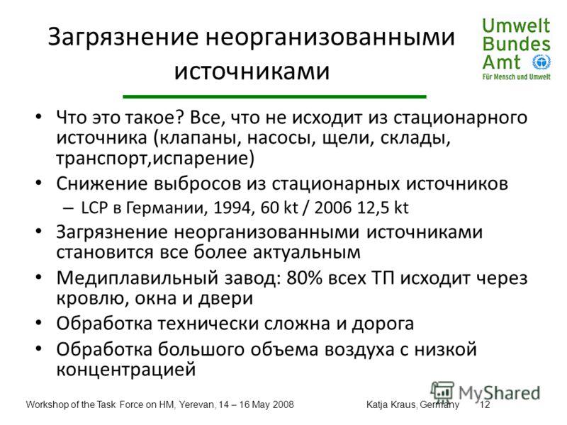 Workshop of the Task Force on HM, Yerevan, 14 – 16 May 2008Katja Kraus, Germany12 Загрязнение неорганизованными источниками Что это такое? Все, что не исходит из стационарного источника (клапаны, насосы, щели, склады, транспорт,испарение) Снижение вы