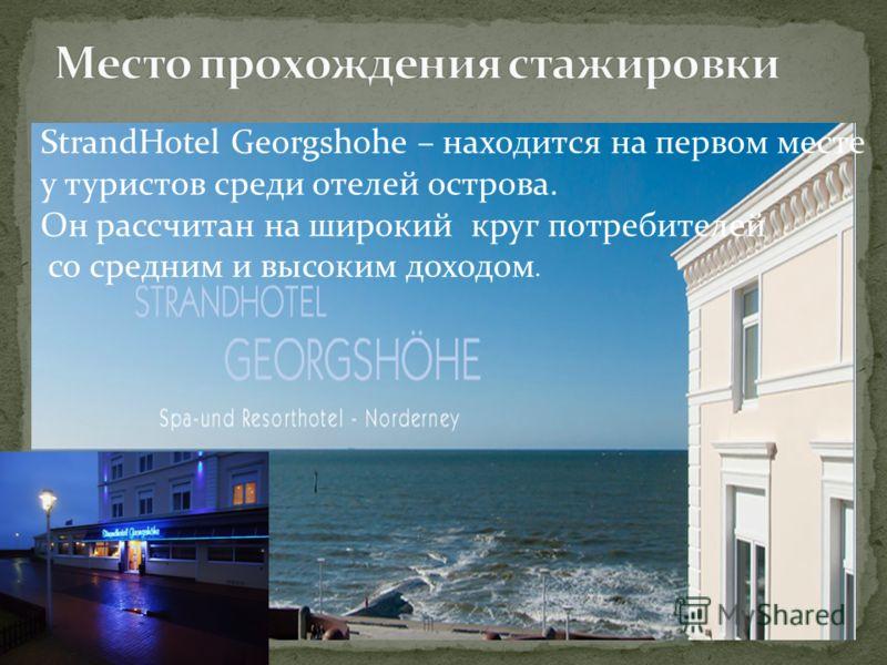 StrandHotel Georgshohe – находится на первом месте у туристов среди отелей острова. Он рассчитан на широкий круг потребителей со средним и высоким доходом.
