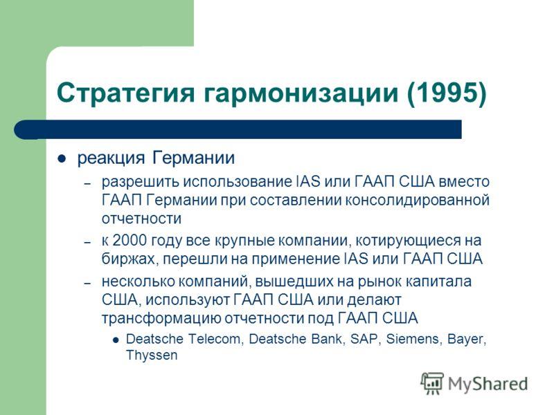 Стратегия гармонизации (1995) реакция Германии – разрешить использование IAS или ГААП США вместо ГААП Германии при составлении консолидированной отчетности – к 2000 году все крупные компании, котирующиеся на биржах, перешли на применение IAS или ГААП