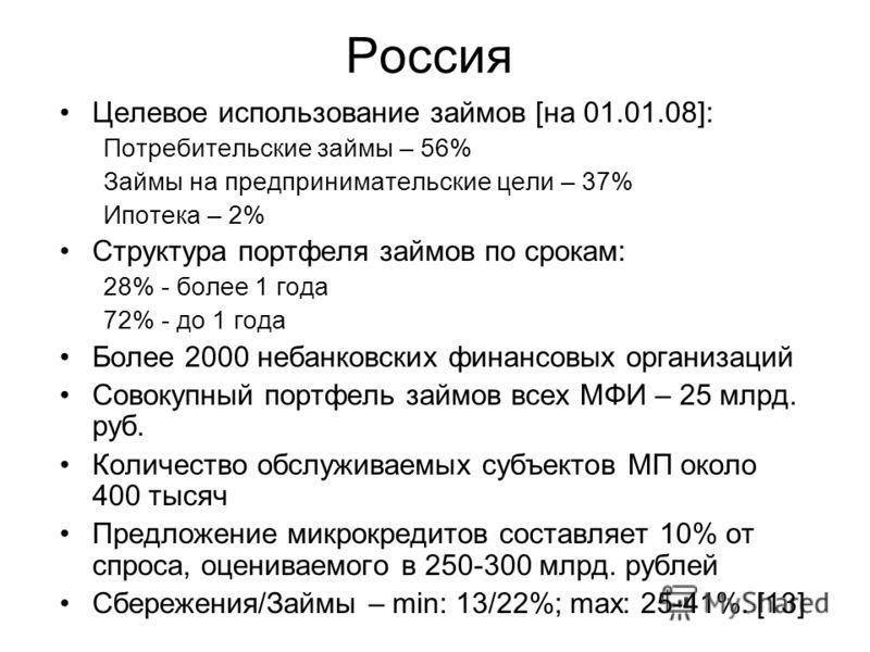 Россия Целевое использование займов [на 01.01.08]: Потребительские займы – 56% Займы на предпринимательские цели – 37% Ипотека – 2% Структура портфеля займов по срокам: 28% - более 1 года 72% - до 1 года Более 2000 небанковских финансовых организаций