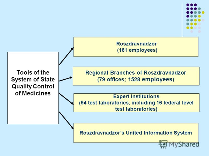 Tools of the System of State Quality Control of Medicines Roszdravnadzor (161 employees) Regional Branches of Roszdravnadzor (79 offices; 1528 employees ) Expert Institutions (94 test laboratories, including 16 federal level test laboratories) Roszdr