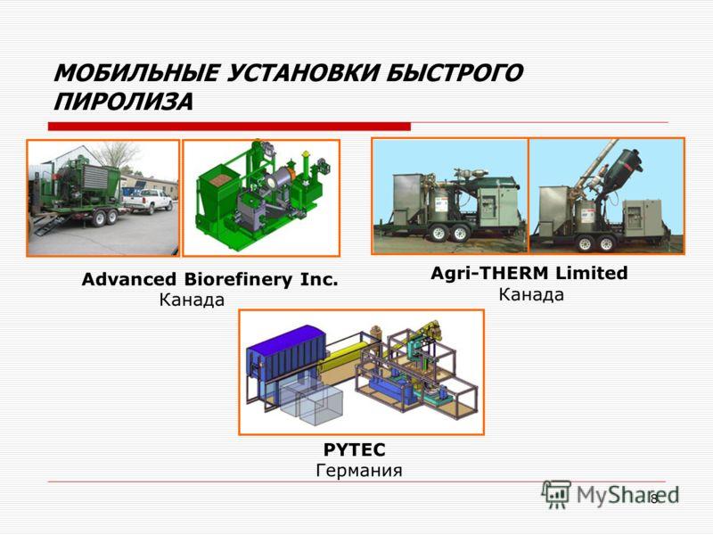 8 МОБИЛЬНЫЕ УСТАНОВКИ БЫСТРОГО ПИРОЛИЗА Advanced Biorefinery Inc. Канада Agri-THERM Limited Канада PYTEC Германия