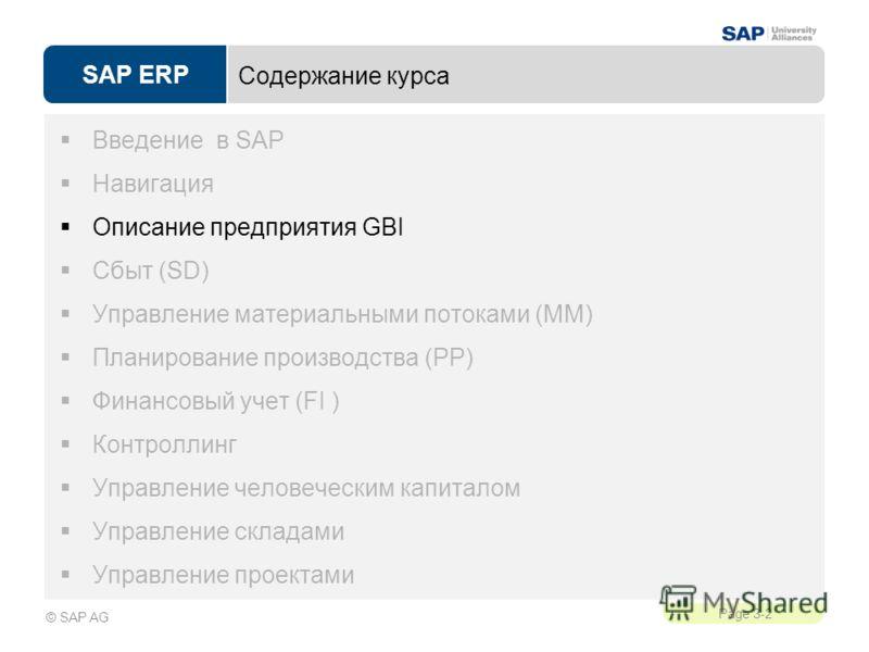 SAP ERP Page 3-2 © SAP AG Содержание курса Введение в SAP Навигация Описание предприятия GBI Сбыт (SD) Управление материальными потоками (MM) Планирование производства (PP) Финансовый учет (FI ) Контроллинг Управление человеческим капиталом Управлени
