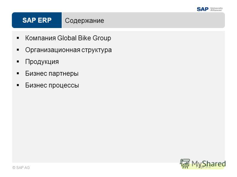 SAP ERP Page 3-3 © SAP AG Содержание Компания Global Bike Group Организационная структура Продукция Бизнес партнеры Бизнес процессы
