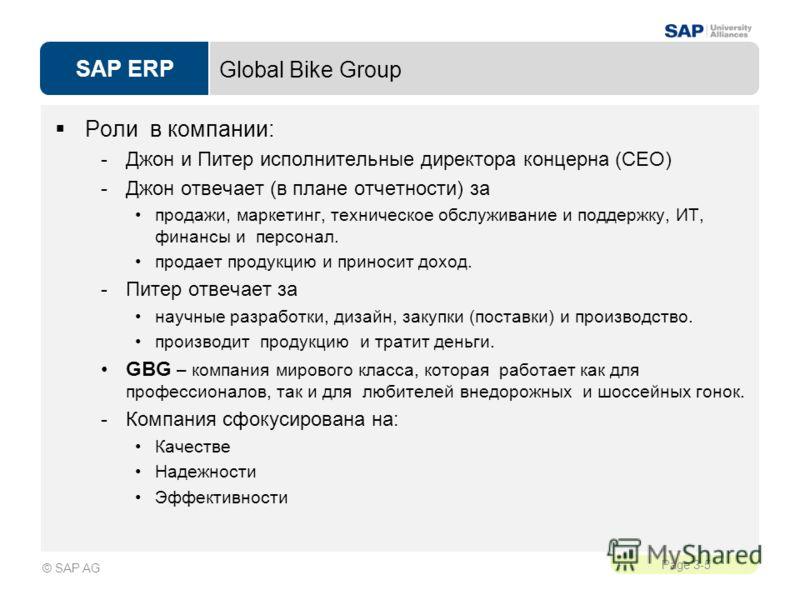 SAP ERP Page 3-5 © SAP AG Global Bike Group Роли в компании: -Джон и Питер исполнительные директора концерна (CEO) -Джон отвечает (в плане отчетности) за продажи, маркетинг, техническое обслуживание и поддержку, ИТ, финансы и персонал. продает продук