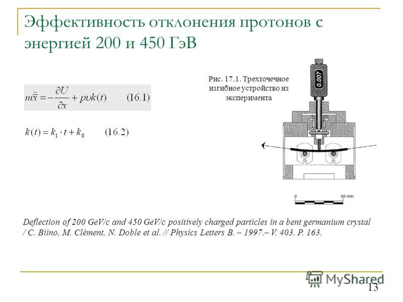 13 Эффективность отклонения протонов с энергией 200 и 450 ГэВ Рис. 17.1. Трехточечное изгибное устройство из эксперимента Deflection of 200 GeV/c and 450 GeV/c positively charged particles in a bent germanium crystal / C. Biino, M. Clément, N. Doble