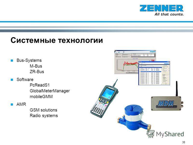 38 Системные технологии Bus-Systems M-Bus ZR-Bus Software PcReadS1 GlobalMeterManager mobileGMM AMR GSM solutions Radio systems
