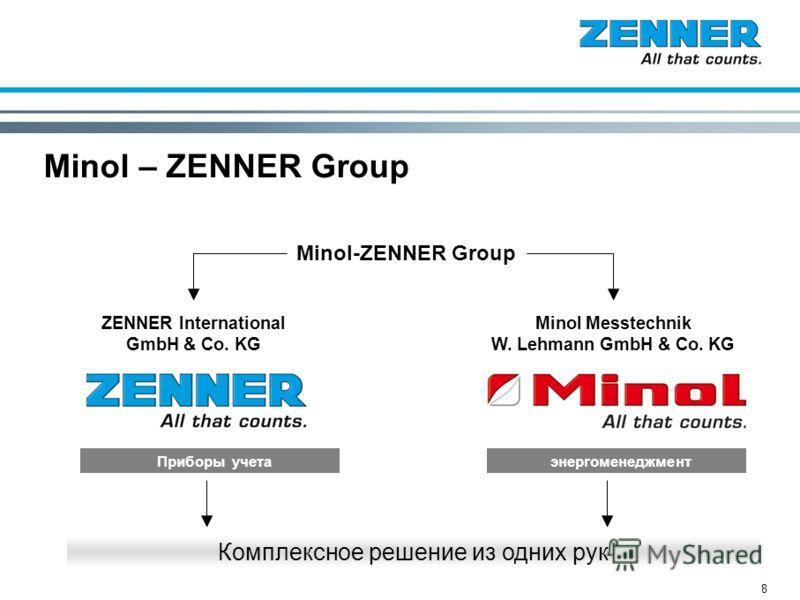 8 Minol – ZENNER Group Minol Messtechnik W. Lehmann GmbH & Co. KG Minol-ZENNER Group энергоменеджмент Комплексное решение из одних рук ZENNER International GmbH & Co. KG Приборы учета