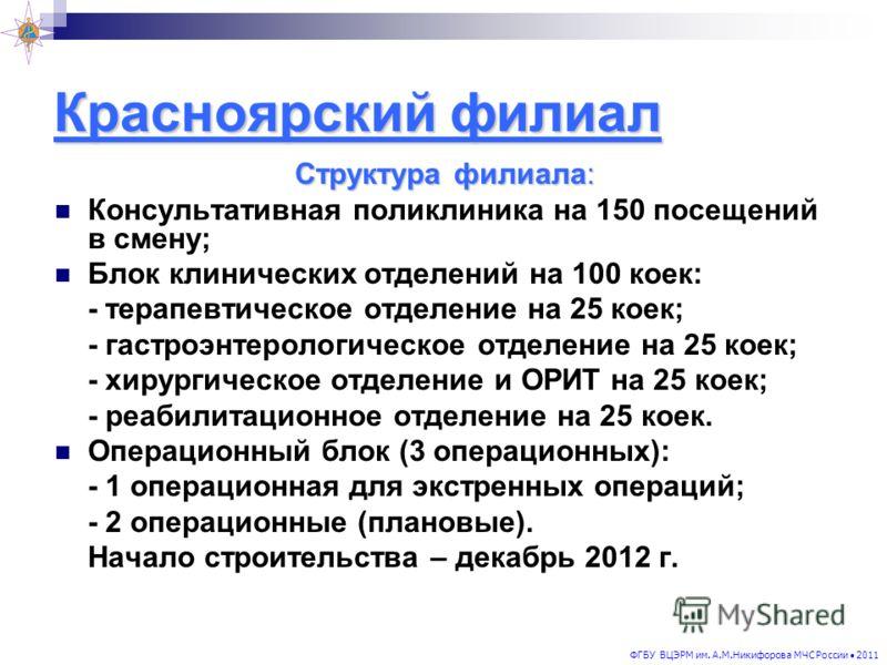 Красноярский филиал Структура филиала: Консультативная поликлиника на 150 посещений в смену; Блок клинических отделений на 100 коек: - терапевтическое отделение на 25 коек; - гастроэнтерологическое отделение на 25 коек; - хирургическое отделение и ОР