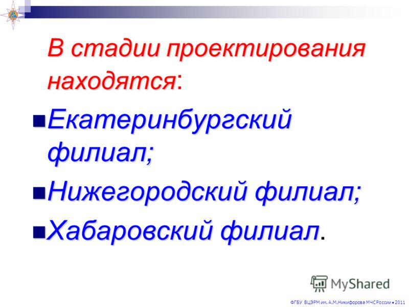 В стадии проектирования находятся В стадии проектирования находятся : Екатеринбургский филиал; Екатеринбургский филиал; Нижегородский филиал; Нижегородский филиал; Хабаровский филиал Хабаровский филиал.