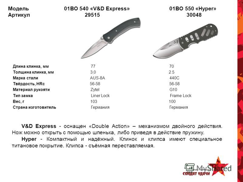 Модель 01BO 540 «V&D Express» 01BO 550 «Hyper» Артикул 29515 30048 Длина клинка, мм 77 70 Толщина клинка, мм 3,0 2.5 Марка стали AUS-8A 440C Твёрдость, HRc 56-58 56-58 Материал рукояти Zytel G10 Тип замка Liner Lock Frame Lock Вес, г 103 100 Страна и