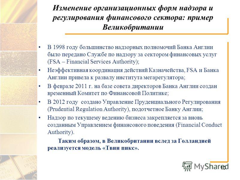 Изменение организационных форм надзора и регулирования финансового сектора: пример Великобритании В 1998 году большинство надзорных полномочий Банка Англии было передано Службе по надзору за сектором финансовых услуг (FSA – Financial Services Authori