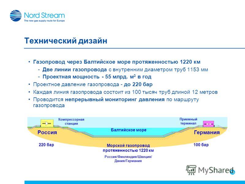 15 Технический дизайн Газопровод через Балтийское море протяженностью 1220 км -Две линии газопровода с внутренним диаметром труб 1153 мм -Проектная мощность - 55 млрд. м 3 в год Проектное давление газопровода - до 220 бар Каждая линия газопровода сос