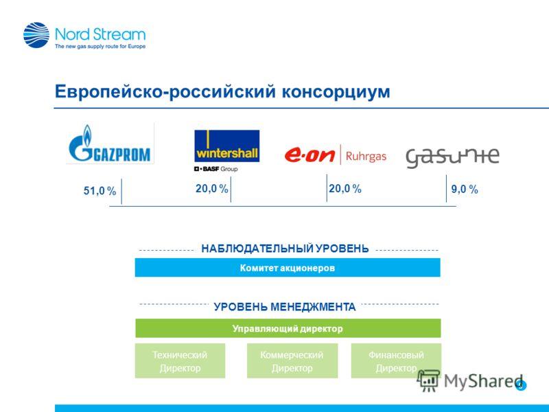 9 9 Европейско-российский консорциум 9 20,0 % 51,0 % 20,0 % 9,0 % Комитет акционеров Управляющий директор НАБЛЮДАТЕЛЬНЫЙ УРОВЕНЬ УРОВЕНЬ МЕНЕДЖМЕНТА Технический Директор Коммерческий Директор Финансовый Директор