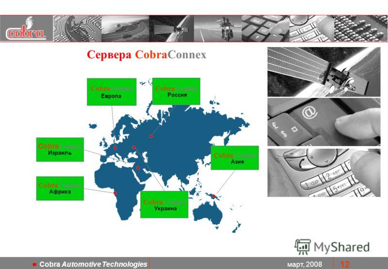 март, 2008 Cobra Automotive Technologies 12 CobraConnex Европа Cobra Connex Израиль CobraConnex Азия CobraConnex Африка CobraConnex Россия Сервера CobraConnex CobraConnex Украина