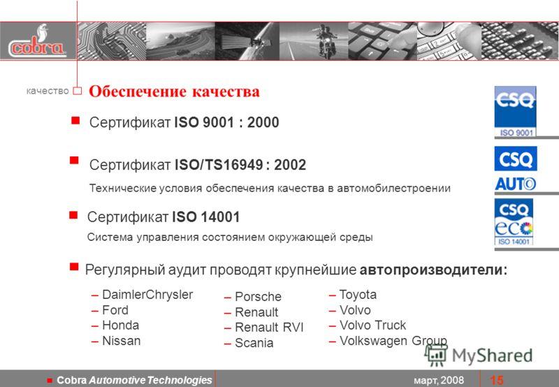март, 2008 Cobra Automotive Technologies 15 Сертификат ISO 9001 : 2000 Сертификат ISO/TS16949 : 2002 Технические условия обеспечения качества в автомобилестроении Регулярный аудит проводят крупнейшие автопроизводители: Обеспечение качества – DaimlerC