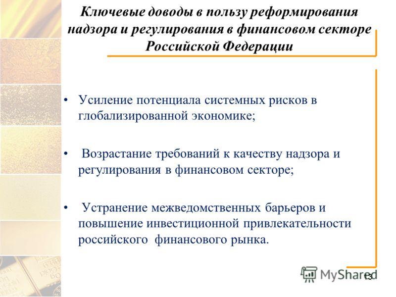 Ключевые доводы в пользу реформирования надзора и регулирования в финансовом секторе Российской Федерации Усиление потенциала системных рисков в глобализированной экономике; Возрастание требований к качеству надзора и регулирования в финансовом секто