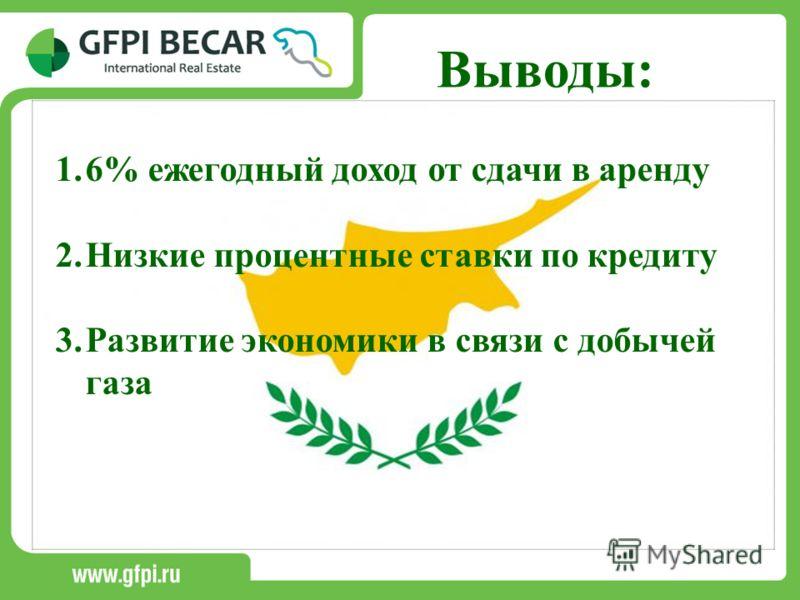 Выводы: 1.6% ежегодный доход от сдачи в аренду 2.Низкие процентные ставки по кредиту 3.Развитие экономики в связи с добычей газа