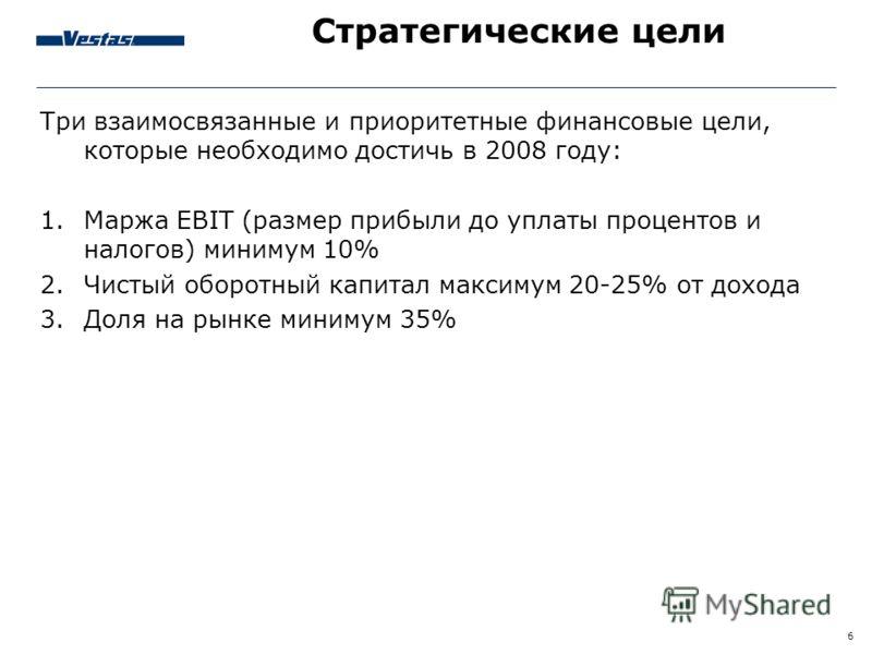 6 Стратегические цели Три взаимосвязанные и приоритетные финансовые цели, которые необходимо достичь в 2008 году: 1.Маржа EBIT (размер прибыли до уплаты процентов и налогов) минимум 10% 2.Чистый оборотный капитал максимум 20-25% от дохода 3.Доля на р