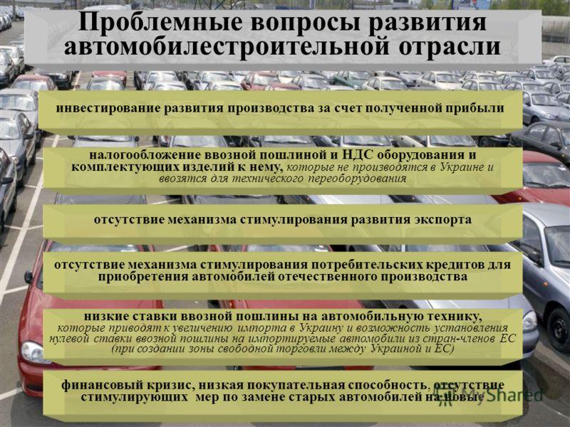 Проблемные вопросы развития автомобилестроительной отрасли инвестирование развития производства за счет полученной прибыли налогообложение ввозной пошлиной и НДС оборудования и комплектующих изделий к нему, которые не производятся в Украине и ввозятс