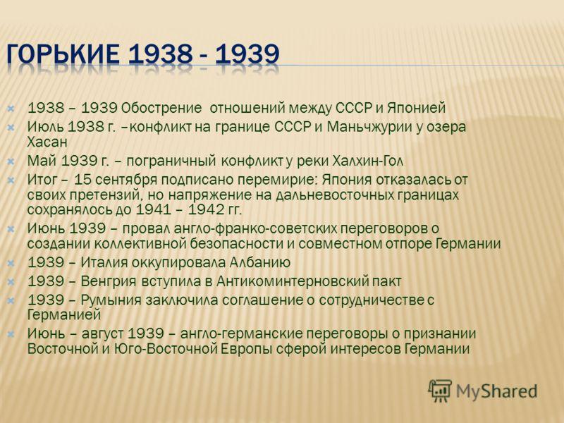 1938 – 1939 Обострение отношений между СССР и Японией Июль 1938 г. –конфликт на границе СССР и Маньчжурии у озера Хасан Май 1939 г. – пограничный конфликт у реки Халхин-Гол Итог – 15 сентября подписано перемирие: Япония отказалась от своих претензий,