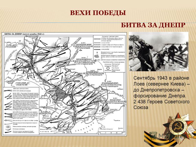 ВЕХИ ПОБЕДЫ БИТВА ЗА ДНЕПР Сентябрь 1943 в районе Лоев (севернее Киева) – до Днепропетровска – форсирование Днепра. 2 438 Героев Советского Союза