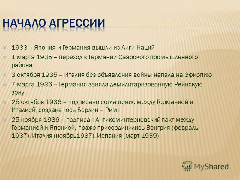 1933 – Япония и Германия вышли из Лиги Наций 1 марта 1935 – переход к Германии Саарского промышленного района 3 октября 1935 – Италия без объявления войны напала на Эфиопию 7 марта 1936 – Германия заняла демилитаризованную Рейнскую зону 25 октября 19