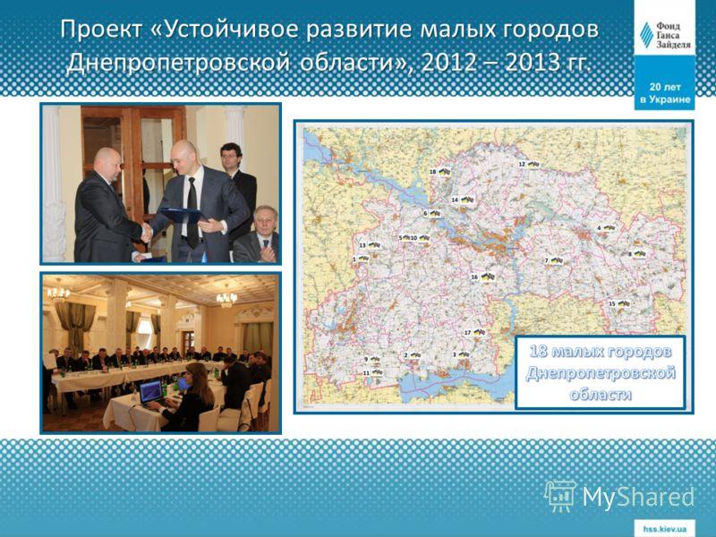 Проект «Устойчивое развитие малых городов Днепропетровской области», 2012 – 2013 гг.