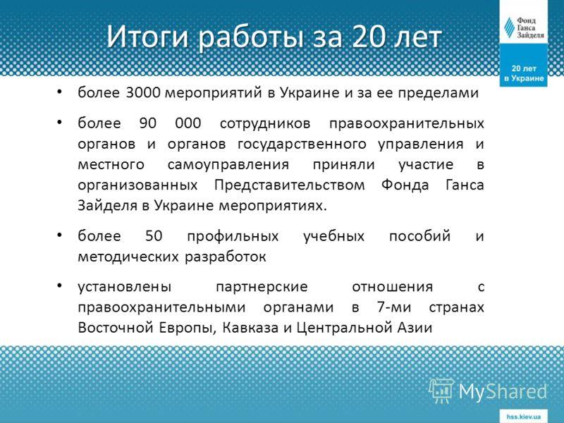 Итоги работы за 20 лет более 3000 мероприятий в Украине и за ее пределами более 90 000 сотрудников правоохранительных органов и органов государственного управления и местного самоуправления приняли участие в организованных Представительством Фонда Га