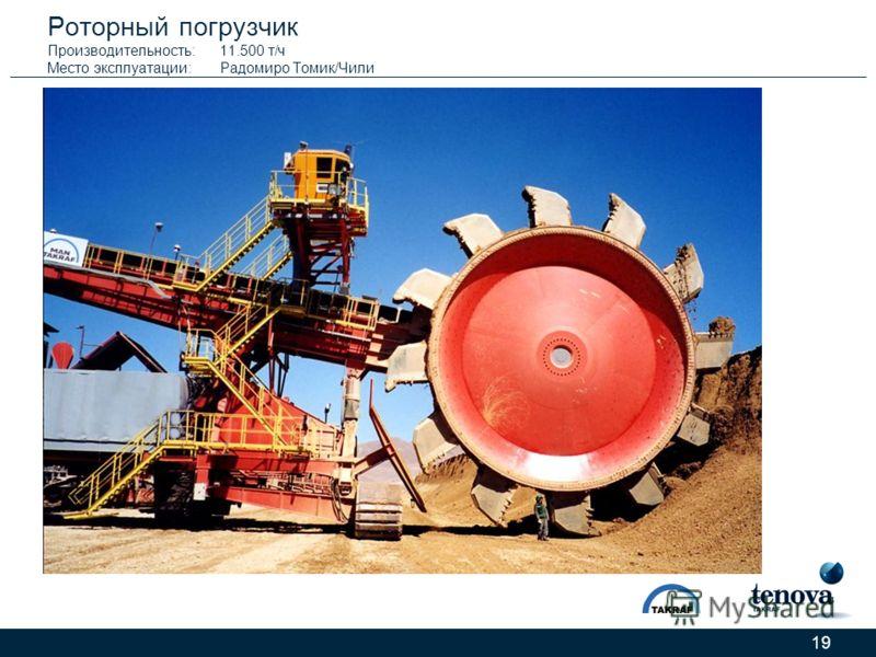 19 Роторный погрузчик Производительность:11.500 т/ч Место эксплуатации:Радомиро Томик/Чили