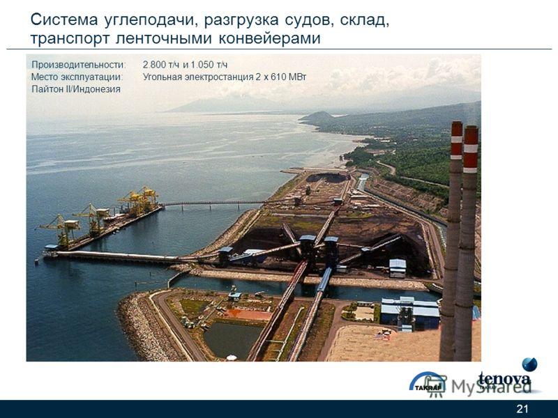 21 Система углеподачи, разгрузка судов, склад, транспорт ленточными конвейерами Производительности:2.800 т/ч и 1.050 т/ч Место эксплуатации:Угольная электростанция 2 x 610 МВт Пайтон II/Индонезия