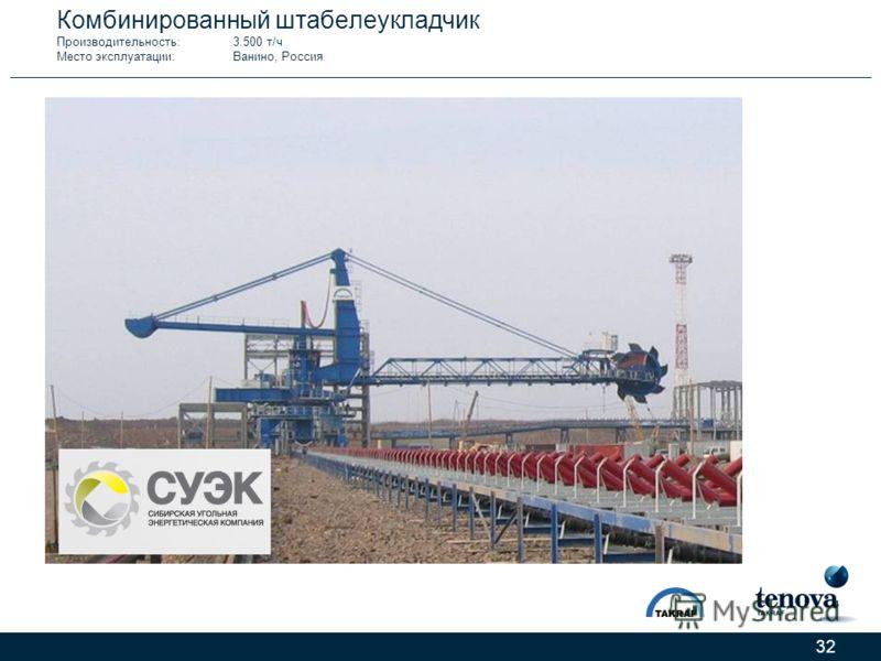 32 Комбинированный штабелеукладчик Производительность:3.500 т/ч Место эксплуатации:Ванино, Россия