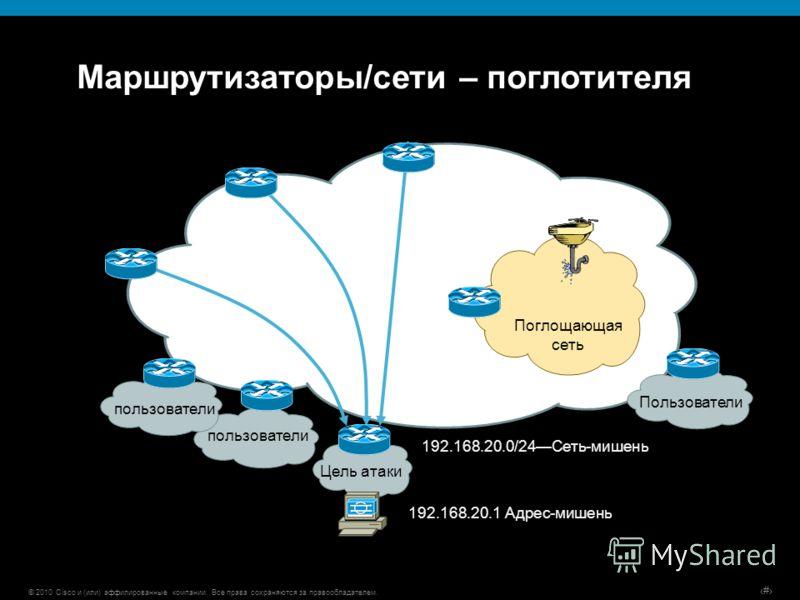 © 2010 Cisco и (или) аффилированные компании. Все права сохраняются за правообладателем. # Маршрутизаторы/сети – поглотителя Цель атаки 192.168.20.1 Адрес-мишень 192.168.20.0/24Сеть-мишень Поглощающая сеть пользователи Пользователи