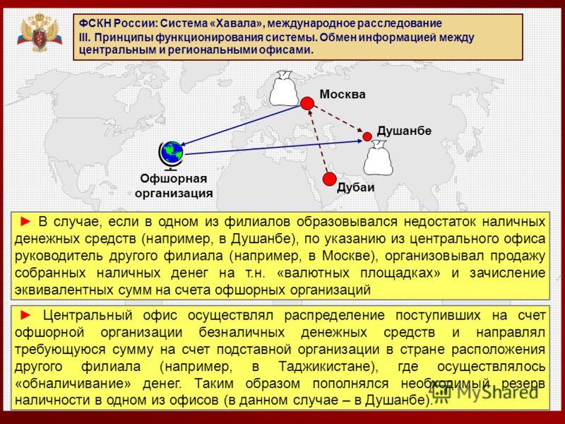 ФСКН России: Система «Хавала», международное расследование III. Принципы функционирования системы. Обмен информацией между центральным и региональными офисами. В случае, если в одном из филиалов образовывался недостаток наличных денежных средств (нап
