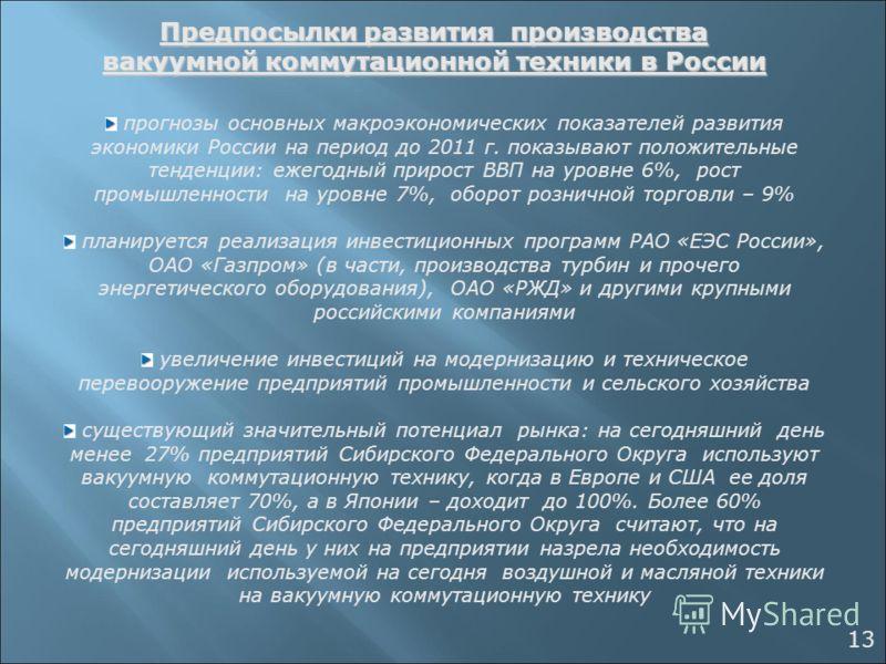 Предпосылки развития производства вакуумной коммутационной техники в России прогнозы основных макроэкономических показателей развития экономики России на период до 2011 г. показывают положительные тенденции: ежегодный прирост ВВП на уровне 6%, рост п